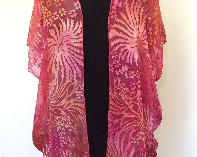 Silk Kimono-Hand Dyed Silk - Shorter Style - Coral, Pink, Gold Dyed Silk and Rayon Devore - S-XL
