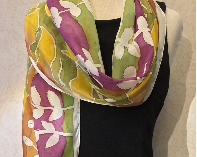 Hand Painted Silk Scarf, Gold, Green, Plum Leaf Design on White, 15x72 inches