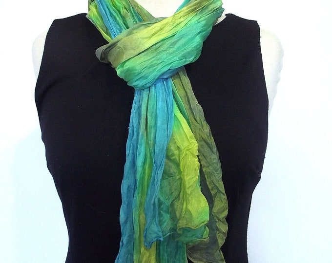 Hand Dyed Silk Scarf, Crinkled Silk Travel Scarf - Turquoise, Yellow, Lime, Avocado - 14x72""