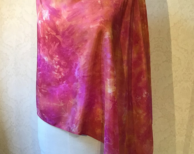 Asymmetrical Poncho, Shawl, Shrug, in Hand Dyed Silk, Coral, Gold, Rust - 22 x 72""