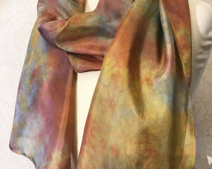 Hand Dyed Shibori Silk Scarf, Gold Rust Grey - 14x72""