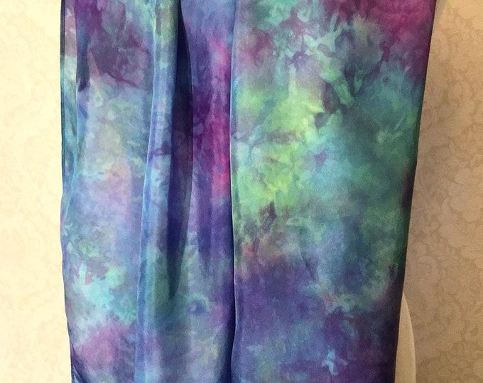 "Hand Dyed Shibori Silk Scarf, Multicolour Purple, Rose, Aqua, Blue, Green 14x72"""