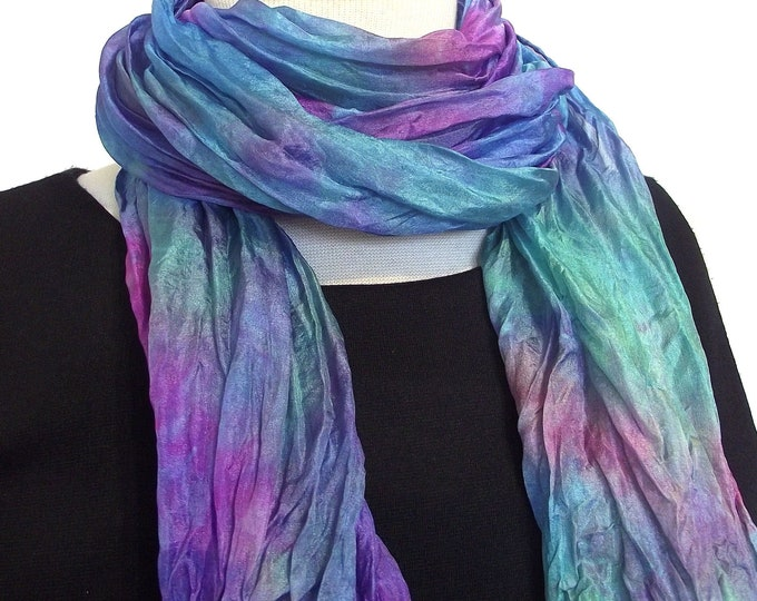 """Hand Dyed Silk Scarf, Crinkled Silk Travel Scarf - Soft Lavender, Rose, Seafoam & Turquoise- 14x72"""""""
