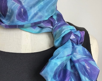 Silk Infinity Scarf, Block Printed Leaves in Lavender and Grape with Metallic Silver Accents - 11 x 60 inches