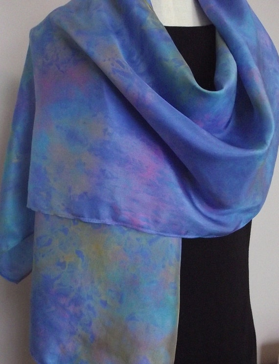 Hand Dyed Shibori Silk Scarf, Rainbow Colours with Bright Blue Background - Straight or Infinity Loop Scarf 14x72""