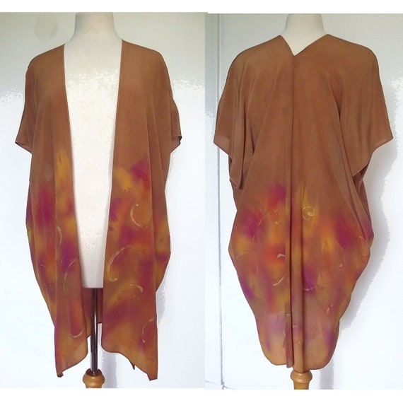 Silk Kimono-Hand Dyed Silk- Rust, Copper Colour with Gold and Fuschia Pattern and Metallic Gold Swirls - S-XL