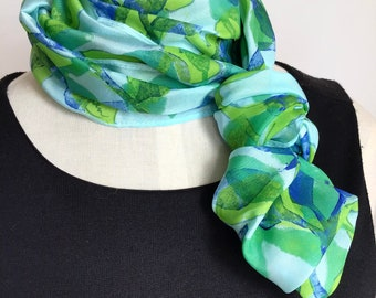 Silk Infinity Scarf, Block Printed Leaves in Green and Blue on Turquoise - 11 x 60 inches