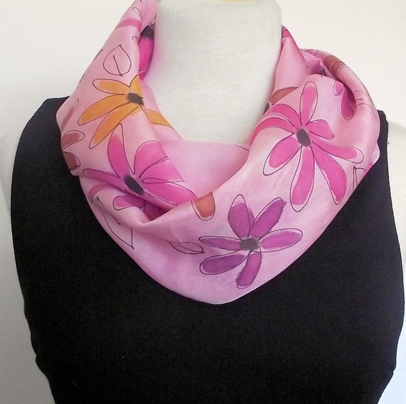 "Hand Painted Silk Infinity Scarf,  11 x 60"" Pink, Plum, Gold and Rust Daisies on Pink Background"