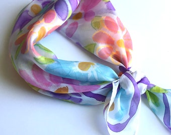 Hand Painted Square Silk Scarf -  Daisies - Head Scarf, Kerchief, Bandana, Neck Scarf - 21 x  21 inches