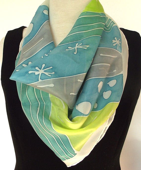 Hand Painted Silk Scarf -  Modern Abstract Lime, Turquoise Grey and White - 24 x 24 inches