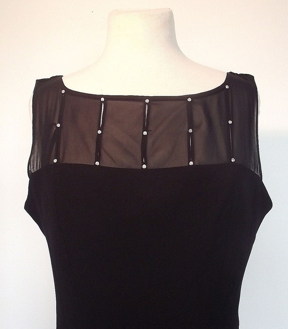 Vintage Jones Wear Black Cocktail Dress - Chiffon Bodice - Draped Back Neckline - Gem Detailing- Size 16