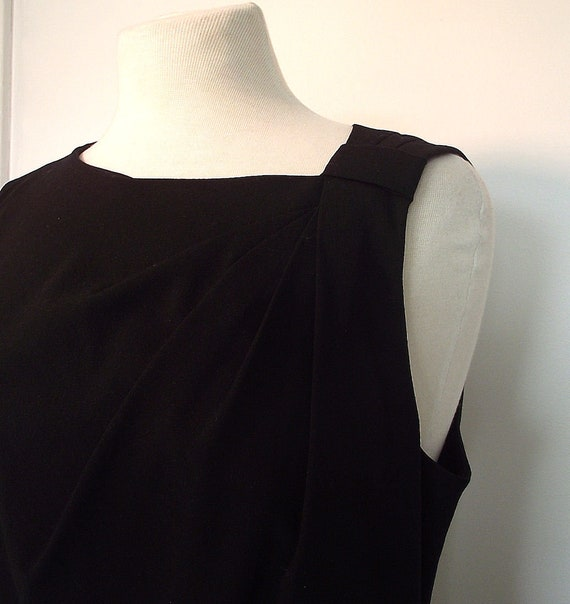 Vintage Calvin Klein Black Sleeveless Dress - Asymetrical Neckline, Faux Leather Waist - Size 12