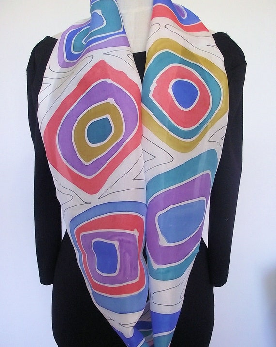 """Hand Painted Silk Infinity Scarf, 11 x 60"""", White with Colourful Abstract Squares in Gold, Coral, Purple, Turquoise and Blue, Black Lines"""