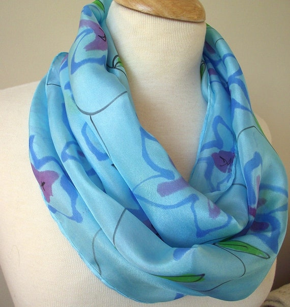 Hand Painted Silk Infinity Scarf, Purple Blue Flowers and Green Leafy Vines Painted on Sky Blue background, 11x60
