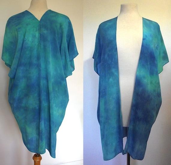 Silk Kimono-Hand Dyed Silk- Teal Green, Blue - S-XL