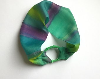 Silk Hair Band - Hand Painted Silk  Hair Headband - Teal, Turquoise, Lime, Purple