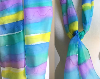 Hand Painted Silk Scarf - Summer Scarf, Head Scarf - Painted Stripes in Aqua, Chartreuse, Lavender, Blue - 11 x 60 inches