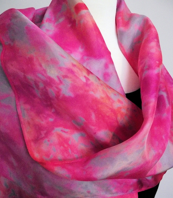 Hand Dyed Shibori Silk Scarf, Pink, Grey, Coral - Straight or Infinity Loop Scarf 14x72""