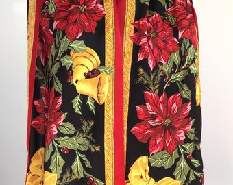 Vintage Christmas Silk Scarf - Jones New York - Pointsettas, Holly and Gold Bells10 x 54 inches