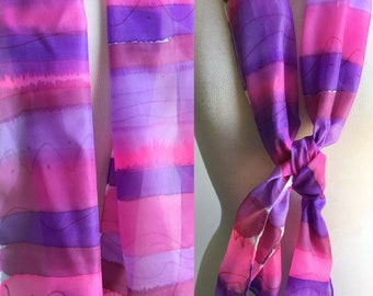 Hand Painted Silk Scarf - Summer Scarf, Head Scarf - Stripes in Pinks, Purples - 11 x 60 inches