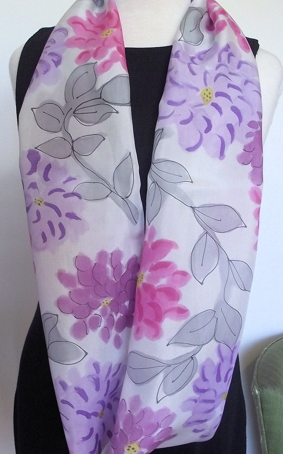 "Hand Painted Silk Infinity Scarf,  11 x 60"" Pale Silver Grey with Pink, Mauve, Plum Flowers and Grey Leaves, Black Outline"