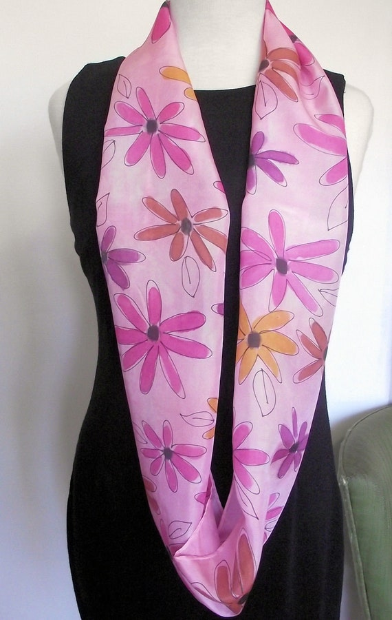 """Hand Painted Silk Infinity Scarf,  11 x 60"""" Pink, Plum, Gold and Rust Daisies on Pink Background"""