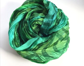 """Hand Dyed and Block Printed Silk Scarf, Blue - Green with Mermaid Scale Block Print Design in Dark Green- 17x85"""""""
