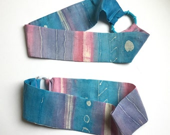 Silk Hair Band - Batik Silk  Hair Accessory - Headband - Soft Blue, Pink, Purple White