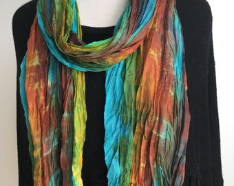 """Silk Scarf, Hand Dyed, Crinkled Boho Scarf - Blue, Rust, Gold, Turquoise, Green, Brown- 17x85"""""""