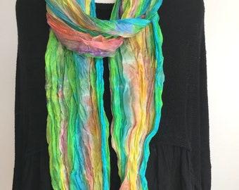 """Hand Dyed Silk Scarf, Crinkled Silk Boho Scarf - Rainbow Colours 17x85"""""""