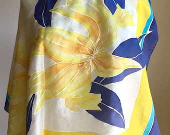 Vintage Square Silk Scarf - Hand Painted Flower in Yellow, Turquoise, Navy & Ivory - 30 x 30 inches