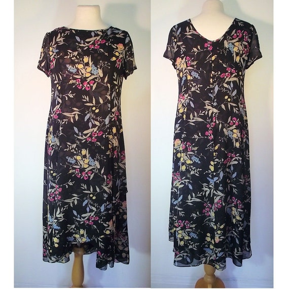 Kay Unger New York, Silk Chiffon Flowered Vintage Dress - Black with Floral Design, Two Layers of Silk Chiffon, Asymetric Front - Size 12