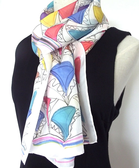 Hand Painted Silk Scarf - Graphic Abstract Design - Turquoise, Blue, Red, Yellow, Purple on White with Black Graphic Lines