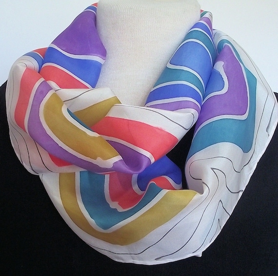 "Hand Painted Silk Infinity Scarf, 11 x 60"", White with Colourful Abstract Squares in Gold, Coral, Purple, Turquoise and Blue, Black Lines"