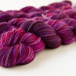 Hand Dyed Lace Baby Alpaca Yarn - Purple and Pink - Lacie OOAK