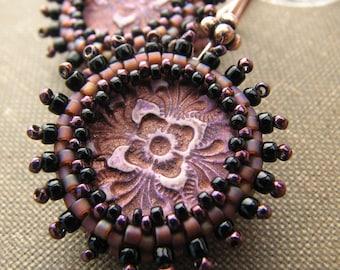 Plum Filigree Earring, Golden Beaded Bezel, Stamped Polymer Clay, Copper Ear Wire