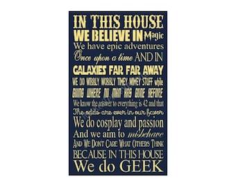 "REUSABLE STENCIL, 6476 J, 11""x20"", In this house we believe in magic, DIY sign Stencil, Mylar Stencils."