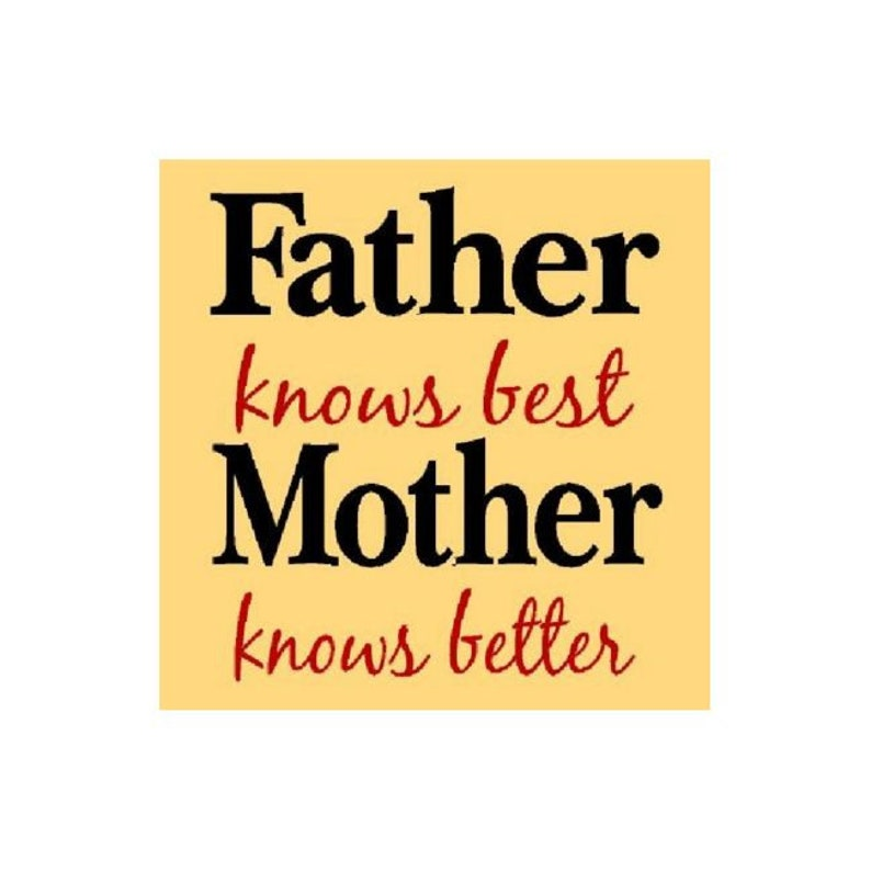 Wall Stencil 4051 U Painting Template Painting Stencil Father knows best Mother knows best Craft Stencil DIY STENCIL 12x12