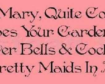 PRIMITIVE STENCIL -Item 4726 K - Mary Mary Quite Contrary Nursery Rhyme - Make Your Sign - Clear 5Mil Mylar