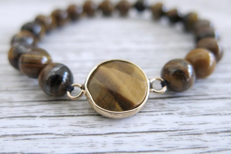 Tigers Eye Bracelet Gemstone 8mm Bead Gemstone Stretch Bracelet Faceted