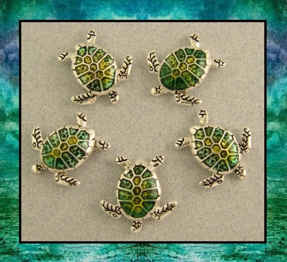 Sea Turtle Beads MINI Loggerhead Tortoise Silver 2 Hole Sliders Sand SEA QTY 7