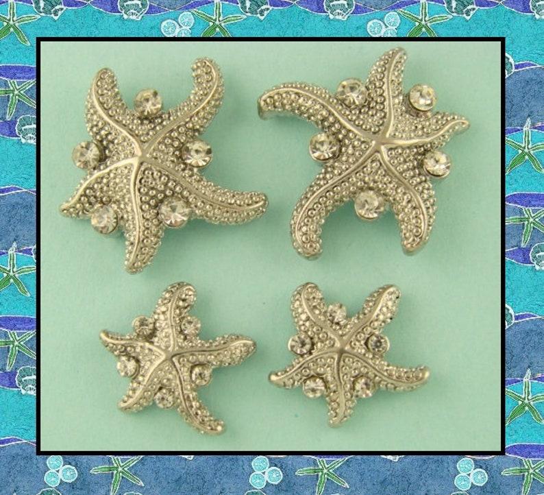 315ed5fad 2 Hole Beads Starfish Silver with Clear Swarovski Crystal | Etsy