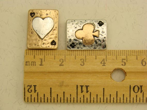 2 Hole Beads Mini Heart Squares Spacers Gold Plated Metal Hearts ~ Sliders QTY 4