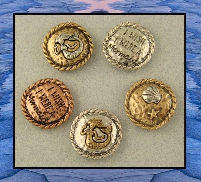 "Mermaid Beads /""I Wish I Were/"" Starfish OCEAN Seashell 2 Hole Metal Sliders QTY 4"