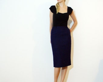 Vintage 50s Purple Checked Wool Pencil Skirt XS - M
