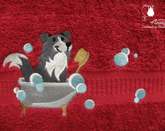 Embroidered bath and face terry towel. Terry towel with embroidered dog. Gift towel with a dog. Gift for dog lover.