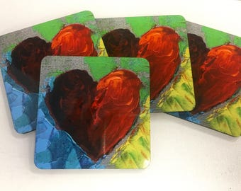 Red Heart Coasters set of 4
