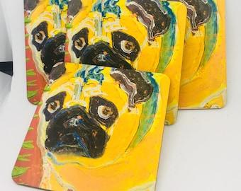 Pug Lovers Coasters set of 4 Pug Love