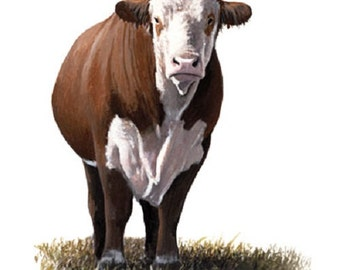 """CATTLE: One Hereford Cow Standing on One 18 x 22 inch Fabric Panel.Actual picture is approx 11""""x14"""".Title is """"Outstanding in Her Field.-SALE"""
