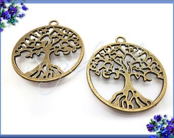 N1357 Findings Brass Tree Charm 4 Raw Brass Tree Pendants With 1 Loop 26x23mm